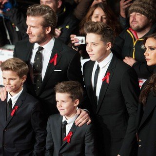 Romeo Beckham, David Beckham, Cruz Beckham, Brooklyn Beckham, Victoria Adams in The World Premiere of The Class of 92 - Arrivals