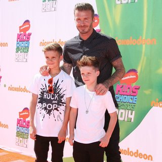 Romeo Beckham, David Beckham, Cruz Beckham in Nickelodeon Kids' Choice Sports Awards 2014