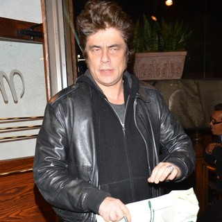 Benicio Del Toro Leaving Madeo Restaurant