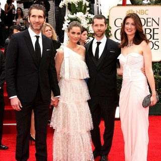 David Benioff, Amanda Peet, D.B. Weiss in The 69th Annual Golden Globe Awards - Arrivals