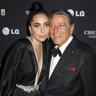 Lady GaGa, Tony Bennett in Tony Bennett and Lady GaGa's Cheek to Cheek Taping