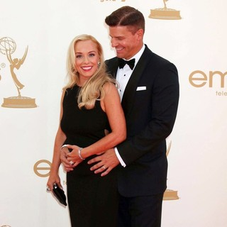 Jaime Bergman, David Boreanaz in The 63rd Primetime Emmy Awards - Arrivals