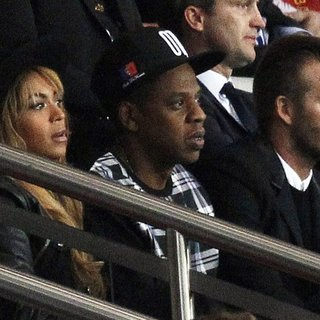 Beyonce Knowles, Jay-Z, David Beckham in The UEFA Champions League Match Between Paris Saint-Germain v FC Barcelona