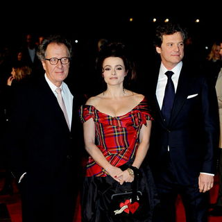 Geoffrey Rush, Helena Bonham Carter, Colin Firth in The BFI London Film Festival: 'The King's Speech' - UK Film Premiere - Arrivals
