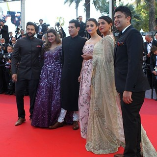 Jackky Bhagnani, Deepshikha Deshmukh, Darshan Kumaar, Aishwarya Rai, Richa Chadha, Bhushan Kumar in 69th Cannes Film Festival - From the Land of the Moon Premiere - Arrivals