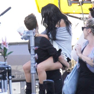 Justin Bieber, Selena Gomez in On The Set of Music Video Boyfriend