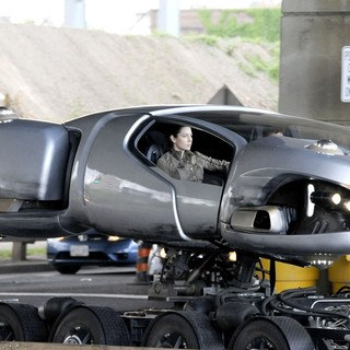 Jessica Biel, Colin Farrell in On Set of Total Recall Movie in A Futuristic Hovering Car