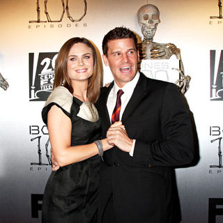 "Emily Deschanel, David Boreanaz in The ""Bones"" 100th Show Party"