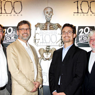 "Hart Hanson, Stephen Nathan, Barry Josephson, Ian Toynton in The ""Bones"" 100th Show Party"