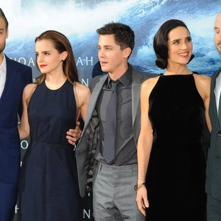 Douglas Booth, Emma Watson, Logan Lerman, Jennifer Connelly, Darren Aronofsky in German Premiere of Noah