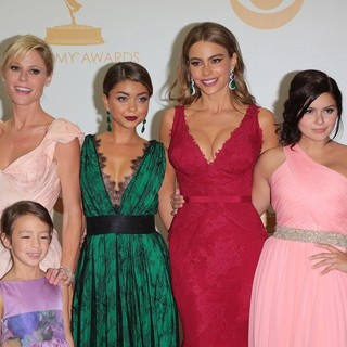 Julie Bowen, Aubrey Anderson-Emmons, Sarah Hyland, Sofia Vergara, Ariel Winter in 65th Annual Primetime Emmy Awards - Press Room