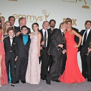Sarah Hyland, Nolan Gould, Ariel Winter, Rico Rodriguez, Jesse Tyler Ferguson, Sofia Vergara, Ty Burrell in The 63rd Primetime Emmy Awards - Press Room