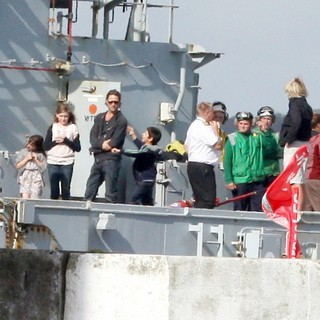 Brad Pitt in Filming Scenes Onboard A Warship for New Movie World War Z