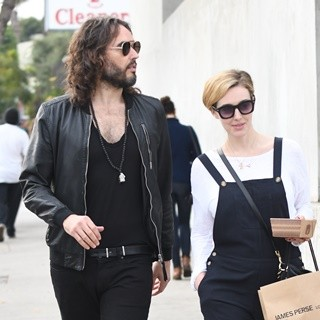 Russell Brand and Wife Leaving Gracias Madre