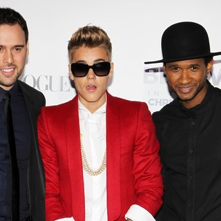 Scooter Braun, Justin Bieber, Usher in Open Road Films Justin Bieber's Believe Memoir and Concert Film Presented by Teen Vogue