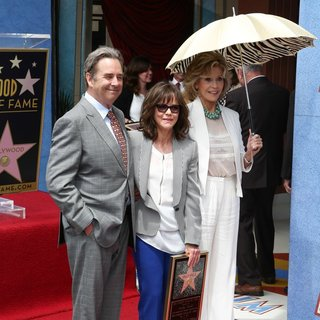 Beau Bridges, Sally Field, Jane Fonda in Sally Field Receives Hollywood Walk of Fame Star