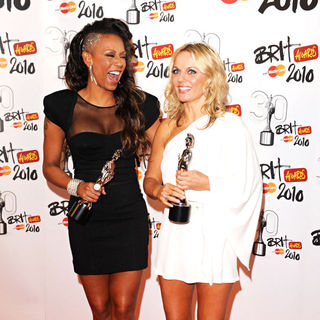 Melanie Brown, Geri Halliwell in The BRIT Awards 2010 - 30th Anniversary - Press Room