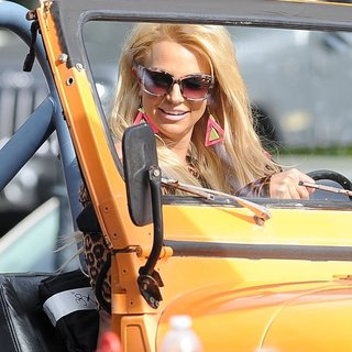Britney Spears in Britney Spears and Iggy Azalea Shoot A Scene for Their Music Video Pretty Girls