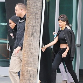 Chris Brown, Rihanna in Rihanna and Chris Brown Leaving The Staples Center in Downtown LA Holding Hands