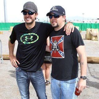 Luke Bryan, Jason Aldean in ACM and Cabela's Great Outdoors Archery Event During The ACM Experience