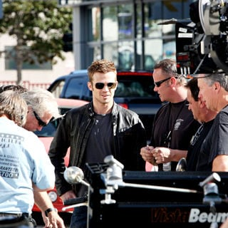 Cam Gigandet in On the set of movie 'Burlesque'