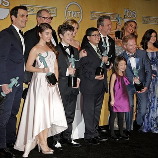 Ty Burrell, Sarah Hyland, Ed O'Neill, Nolan Gould, Julie Bowen, Rico Rodriguez, Eric Stonestreet, Aubrey Anderson-Emmons, Jesse Tyler Ferguson, Sofia Vergara,  in The 20th Annual Screen Actors Guild Awards - Press Room
