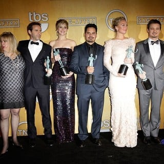 Colleen Camp, Alessandro Nivola, Jennifer Lawrence, Michael Pena, Elisabeth Rohm, Jeremy Renner, Amy Adams in The 20th Annual Screen Actors Guild Awards - Press Room