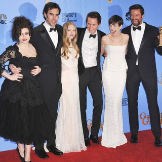 Helena Bonham Carter, Sacha Baron Cohen, Amanda Seyfried, Eddie Redmayne, Anne Hathaway, Hugh Jackman in 70th Annual Golden Globe Awards - Press Room