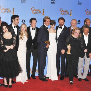 Helena Bonham Carter, Sacha Baron Cohen, Amanda Seyfried, Eddie Redmayne, Tom Hooper, Anne Hathaway, Hugh Jackman in 70th Annual Golden Globe Awards - Press Room