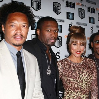 L. Philippe Casseus, 50 Cent, Shantel Jackson, Floyd Mayweather, Jr. in The Lionsgate Home Entertainment and Grindstone VIP Screening of Freelancers