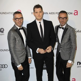 Dan Caten, Michael Buble, Dean Caten in 21st Annual Elton John AIDS Foundation's Oscar Viewing Party