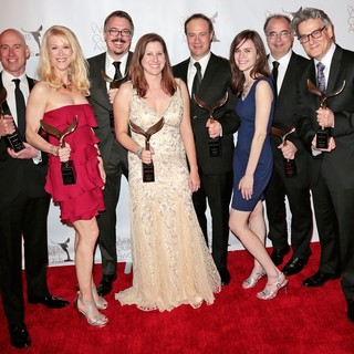 Sam Catlin, Moira Walley-Beckett, Vince Gilligan, Gennifer Hutchison, George Mastras, Thomas Schnauz, Peter Gould in 2013 Writers Guild Awards - Press Room