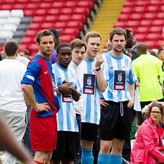 Tinchy Stryder, Olly Murs in 2010 Soccer Six Tournament at Charlton Athletic Football Club
