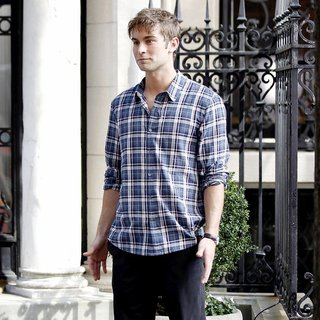 Chace Crawford in Shooting for Gossip Girl