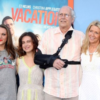 Emily Chase, Caley Chase, Chevy Chase, Jayni Chase in Los Angeles Premiere of Warner Bros. Pictures' Vacation - Red Carpet Arrivals