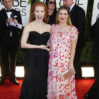 Jessica Chastain, Drew Barrymore in 71st Annual Golden Globe Awards - Arrivals