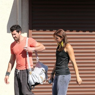 Maksim Chmerkovskiy, Hope Solo in Dancing with the Stars Celebrities Outside The Dance Rehearsal Studios