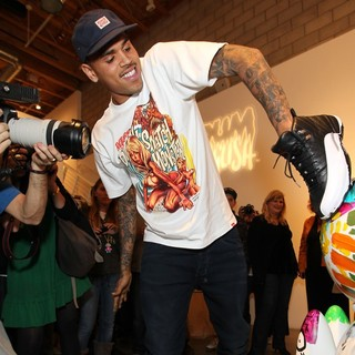 Chris Brown in Chris Brown's Art Show and New Toy Series Launch with Ron English Dum English and Made by Monsters