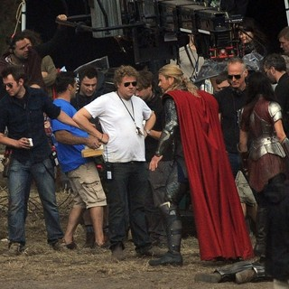 Chris Hemsworth in Filming Scenes for The Movie Thor: The Dark World