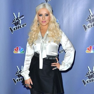 Christina Aguilera in The Voice Press Junket