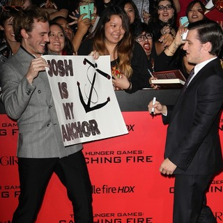 Sam Claflin, Josh Hutcherson in The Hunger Games: Catching Fire Premiere
