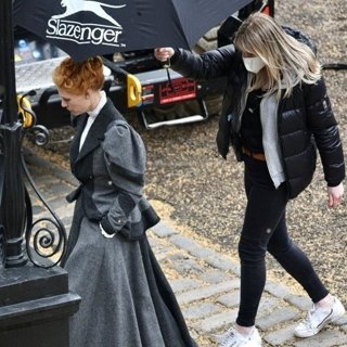 Claire Danes in Claire Danes Filming Scenes for The Essex Serpent