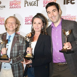 Bruce Cohen, Donna Gigliotti, Jonathan Gordon in 2013 Film Independent Spirit Awards - Press Room