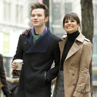 Chris Colfer, Lea Michele in Glee Filming Outside The New York Public Library