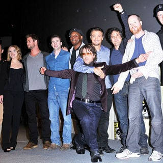 Scarlett Johansson, Chris Evans, Robert Downey Jr., Mark Ruffalo, Chris Hemsworth, Jeremy Renner, Samuel L. Jackson, Clark Gregg, Joss Whedon in Comic-Con 2010 - Day 3 - 'The Avengers' Press Conference