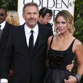 Kevin Costner, Christine Baumgartner in 70th Annual Golden Globe Awards - Arrivals