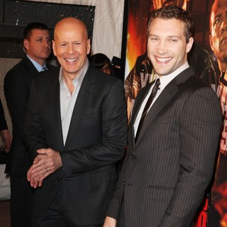 Bruce Willis, Jai Courtney in A Good Day to Die Hard Fan Celebration