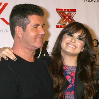 Simon Cowell, Demi Lovato in The X Factor 2012 Final Four Party