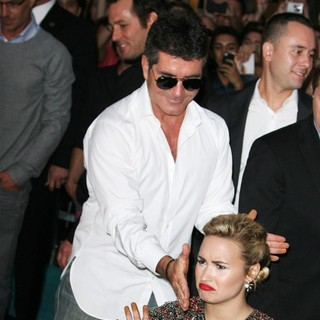 Simon Cowell, Demi Lovato in The X Factor Season Two Premiere Screening and Handprint Ceremony