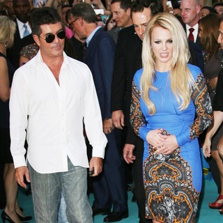 Simon Cowell, Britney Spears in The X Factor Season Two Premiere Screening and Handprint Ceremony